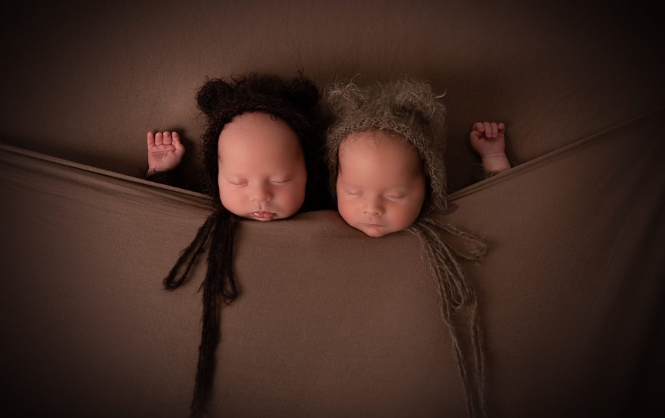 Newborn photography twins in bear outfits