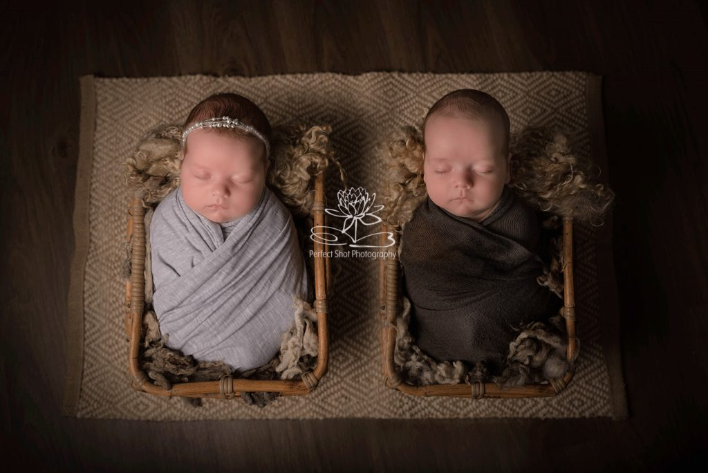 9 week old twins newborn photography session